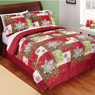 Winterberry Patchwork Comforter Set with Bedskirt - 36390