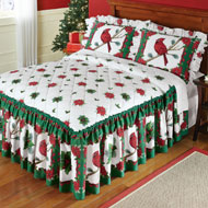 Festive Cardinal Evergreen Holiday Bedspread - 36395
