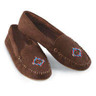 Women's Faux Suede Beaded Moccasin - 36434