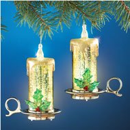 Lighted Mercury Holly Candle Ornaments - Set of 2 - 36438