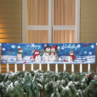 Lighted Happy Holidays Snowman Banner - 36468