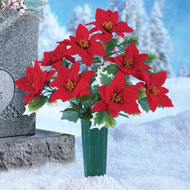 Poinsettia Memorial Vase Outdoor Stake - 36487