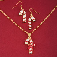 Candy Cane Pendant Necklace and Earring Set - 36505