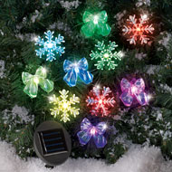 Snowflakes and Bows Solar Christmas String Light