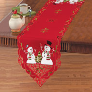 Embroidered Winterland Snowman Table Linens