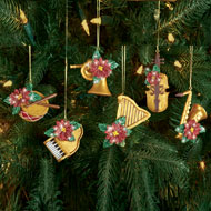 Music Instrument Tree Ornaments - Set of 6 - 36531