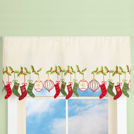 Christmas Stocking & Ornaments Window Valance - 36589