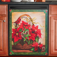 Holiday Poinsettia Basket Dishwasher Magnet - 36619