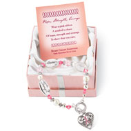Breast Cancer Awareness Silver Charm Bracelet - 36640