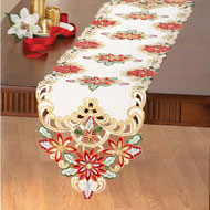 Sequins Poinsettia Christmas Table Linens