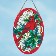 Holiday Cardinal and Holly Suncatcher - 36663