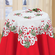Embroidered Mistletoe Table Linens