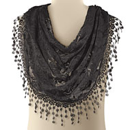 Lace Knit Infinity Scarf with Fringe - 36740