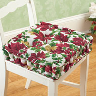 Holiday Poinsettia Tufted Chair Cushion - 36784