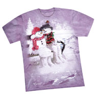Lilac Winter Snowman Couple Tee
