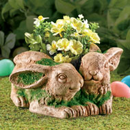 Rustic Bunny Couple Planter - 37156