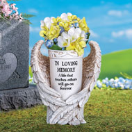 Angel Wings Memorial Vase Garden Stake - 37164