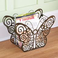 Antique Scroll Butterfly Magazine Holder - 37181