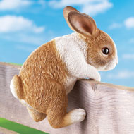 Bunny on a Fence Yard Decor - 37235