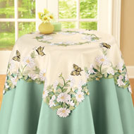 Embroidered Butterfly With Daisy Table Linens