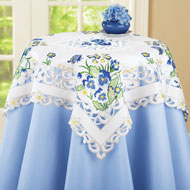 Embroidered Blue Pansy Butterfly Table Linens - 37265