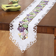Embroidered Purple Butterfly Table Linens