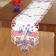 Embroidered Americana Flag Table Linens - 37398