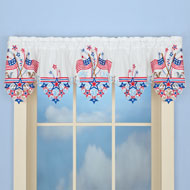 Embroidered Americana Flag Window Valance - 37403