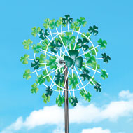 St. Patrick's Shamrock Double Wind Spinner Stake