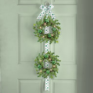 Lighted St. Patrick Shamrock Double Door Wreath - 37452