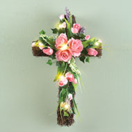 Lighted Pink Roses and Greenery Cross - 37493