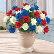Patriotic Faux Rose Bushes - Set of 3 - 37502
