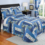 Caledonia Blue Floral Quilted Bedspread