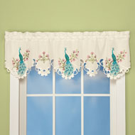 Embroidered Peacock Window Valance - 37563