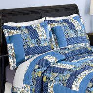 Caledonia Blue Floral Patchwork Pillow Shams Set - 37565