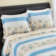 Patchwork Stripe Pillow Shams Set - 37593