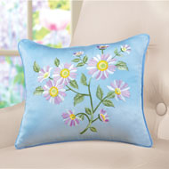 Embroidered Daisy Blue Accent Pillow