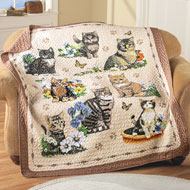 Quilted Charming Cat Collage Throw - 37638