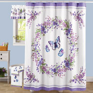 Lavender Floral Butterfly Bathroom Shower Curtain