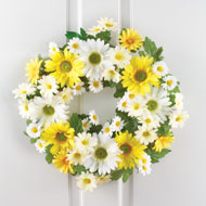 Mixed Yellow and White Daisy Wreath - 37697