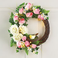 Lighted Tulips with Roses Twig Wreath