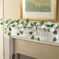 Lighted White Hanging Camellia Garland - 37714