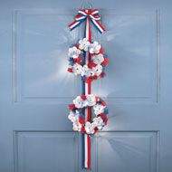 Lighted Patriotic Roses Double Wreath - 37753
