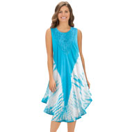 Woven Tie Dye Dress with Embroidery - 37792