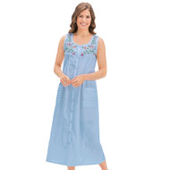 Pintuck Floral Embroidered Night Gown