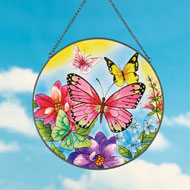 Colorful Butterfly and Flowers Suncatcher - 37928