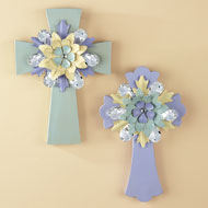 Crystal Accented Flower Wall Cross - 37929