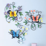 Trio of Butterflies Greenery Wall Art - 37932