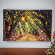 Lighted Shining Sun Forest Scene Wall Canvas