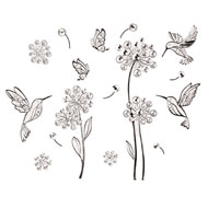 3D Hummingbird and Flower Wall Decals - 37996